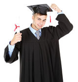 Happy graduating student isolated on white — Stock Photo
