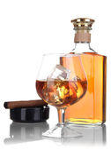 Brandy with ice and cigar isolated on white — Stock Photo