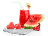 Fresh watermelon and glass of watermelon juice isolated on white — Stock Photo