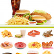 Collage of  unhealthy food — Stock Photo
