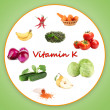 Collage of food containing vitamin K — Stock Photo #30236069