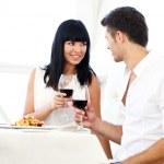 Beautiful couple having romantic dinner at restaurant — Stock Photo #30237317