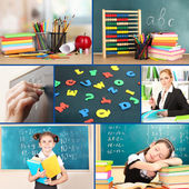Collage of schoolchildren and teacher in classroom. School concept — Foto Stock