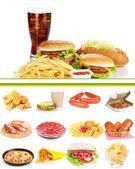 Collage av ohälsosam mat — Stockfoto