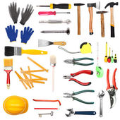 Many different tools for construction and home isolated on white — Stock Photo