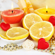 Romantic lighted candles close up — Stock Photo #30247345