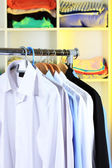 Variety of casual shirts on wooden hangers on shelves background — Stockfoto