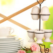Lots beautiful dishes on wooden shelf on natural background — Stock Photo #30313763