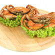 Boiled crabs on wooden board, isolated on white — Stock Photo #30314023