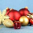 Stock Photo: Christmas decorations on blue background