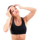 Dolor de cabeza de muchacha aislada en blanco — Foto de Stock