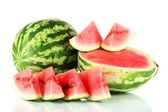 Ripe watermelons isolated on white — Stock fotografie