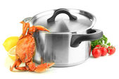 Composition with boiled crab, pan and vegetables isolated on white — Stock Photo