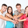 Group of happy beautiful young people at room — Stock Photo #30360097