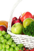 Different fruits and vegetables on white background — Stock Photo