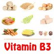 Collage of food containing vitamin B3 — Stock Photo