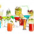 Lot of different cocktails and drinks isolated on white — Stock Photo