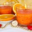 Romantic lighted candles close up — Stock Photo #30401639