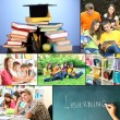 Collage of students peoples- education concep — Stock Photo