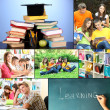 Stock Photo: Collage of students peoples- education concep