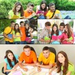 Collage of students people- education concept — Stok fotoğraf