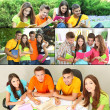 Stock Photo: Collage of students people- education concept