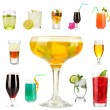 Stock Photo: Lot of different cocktails and drinks isolated on white