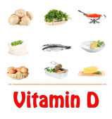 Food sources of vitamin D, isolated on white — Stock Photo