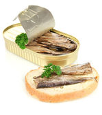 Open tin can with sardines and tasty sandwich, isolated on white — Stock Photo