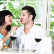 Beautiful young couple at restaurant — Stock Photo #30412877
