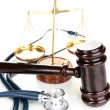 Medicine law concept. Gavel, scales and stethoscope isolated on white — Foto Stock #30413487