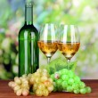 Ripe grapes, bottle and glasses of wine, on bright background — Stock Photo
