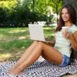 Beautiful young girl with laptop in park — Stock Photo #30413915