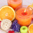 Romantic lighted candles close up — Stock Photo #30416571
