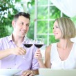 Beautiful couple having romantic dinner at restaurant — Stock Photo #30417443