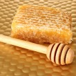Stock Photo: Honey comb and honey on bright yellow background