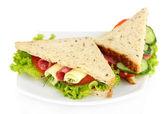 Saborosas sandes com salame salsicha e legumes na chapa branca, isolado no branco — Foto Stock