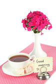Beautiful bouquet of phlox with cup of tea isolated on white — Stockfoto