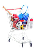 Shopping cart with sport equipment, isolated on white — Stock Photo