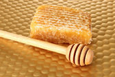 Honey comb and honey on bright yellow background — Stock Photo