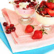 Delicious strawberry and cherry desserts in glass vase isolated on white — Stock Photo #30518301