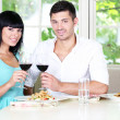 Beautiful young couple at restaurant — Stock Photo #30518955