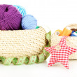 Wicker baskets with accessories for needlework isolated on white — Stock Photo
