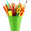 Colorful pencils and other art supplies in pail isolated on white — Stock Photo #30519883