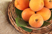 Apricots on wicker coasters on bagging on wooden table — Stock Photo