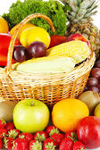 Different fruits and vegetables close-up — Stock Photo