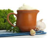 Sour cream in pitcher isolated on white — Stock Photo