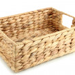 Wicker basket, isolated on white — Stock Photo