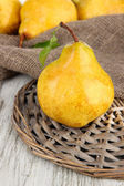 Juicy pears on table close-up — Stock Photo