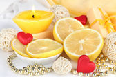 Romantic lighted candles close up — 图库照片